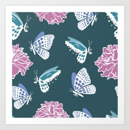 Butterflies and roses Art Print