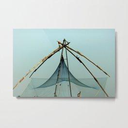 Fishing Net in Cochin India Metal Print