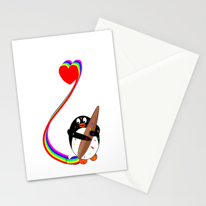 Messy Penguin Painting with Rainbow Stationery Cards