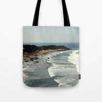 rowing Tote Bags featuring Torquay Heads - Rowing Regatta - Australia by Chris' Landscape Images & Designs