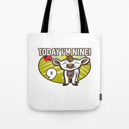 Kid's 9th Birthday Today I'm Nine! Cute Cow Tote Bag