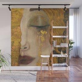 Golden Tears (Freya's Heartache) portrait painting by Gustav Klimt Wall Mural