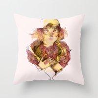 haikyuu Throw Pillows featuring Haikyuu!- Kozume Kenma Print  by Moody Pink