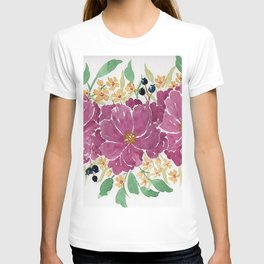 """Japanese Maple & Blueberry"" loose floral bouquet watercolor illustration T-shirt"