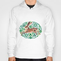 running Hoodies featuring RUNNING HARE by Riku Ounaslehto