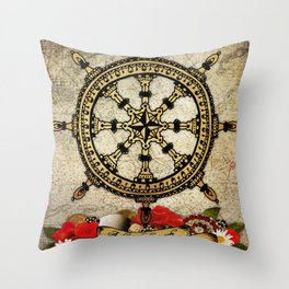 A Ship In Harbor Throw Pillow
