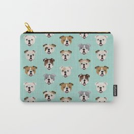 English Bulldog pattern print dog breed pet portrait gifts for dog owner bulldog Carry-All Pouch