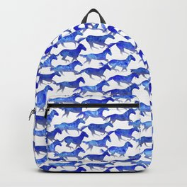 Running Watercolor Horses Blue Backpack