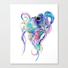 Tuquoise BLue Pink Purple Octopus Canvas Print