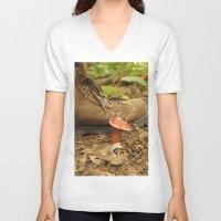 mushroom V-neck T-shirts featuring Mushroom by JCalls Photography