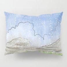 Snowy Watercolor Landscape Pillow Sham