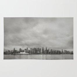 Vancouver Raincity Series - Raincity i - Moody Downtown Vancouver Cityscape Rug