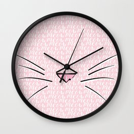 Crazy Cat Lady (Meow Meow Meow Pattern) Wall Clock