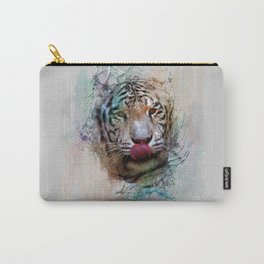 White Tiger in Water Color Splash Carry-All Pouch
