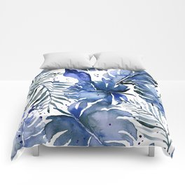 Tropical plants in indigo blue Comforters