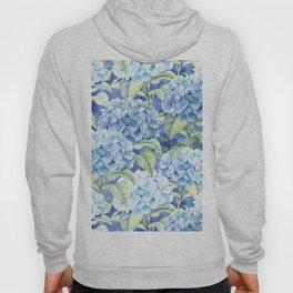 Botanical pink blue watercolor hortensia floral Hoody