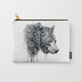 Bear Head Black and White Carry-All Pouch