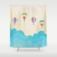 hot air balloons Shower Curtains featuring hot air balloons by studiomarshallarts