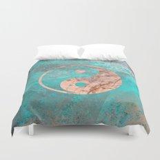 Yin Yang - Rose Turquoise Marble Duvet Cover