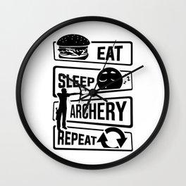 Eat Sleep Archery Repeat - Archery Arrow Bow Hunt Wall Clock