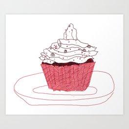 Red Velvet Vegan Cupcake  Art Print