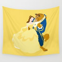 beauty and the beast Wall Tapestries featuring beauty and the beast by Live It Up