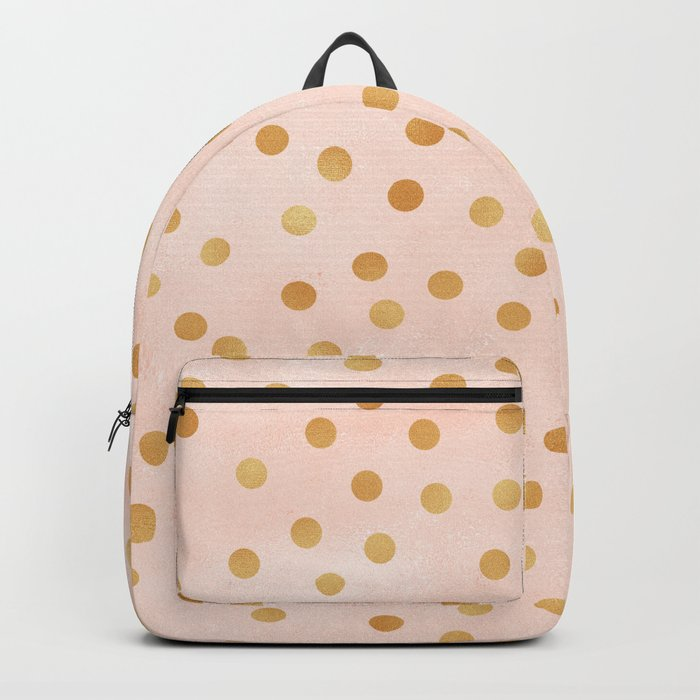 Golden Polka Dots on Pastel Pink Backpack