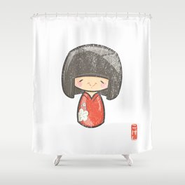 Kokeshi [Special Lucky Toy Box] Shower Curtain