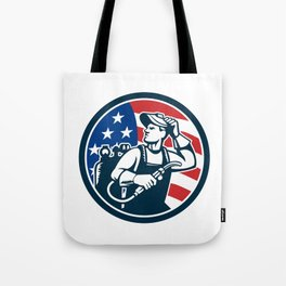 Welder Looking Side USA Flag Circle Retro Tote Bag