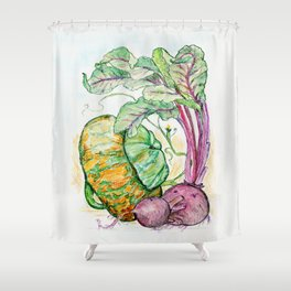 Red Beets and Squash Shower Curtain