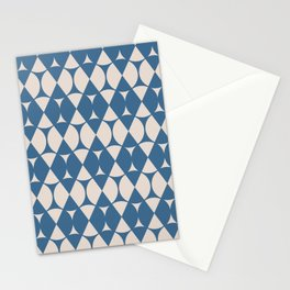 Classic Wheel and Diamond Futurist Pattern 216 Blue and Beige Stationery Cards