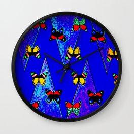 Bright Butterfly Pattern Print Wall Clock