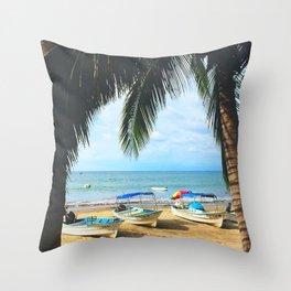 Sayulita Boats Throw Pillow