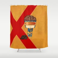 cyclops Shower Curtains featuring Chibi Cyclops by artwaste