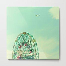 Turquoise Wonder Wheel Metal Print