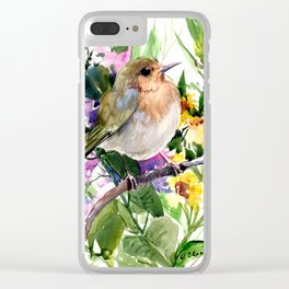 Robin and Summer Flowers Clear iPhone Case