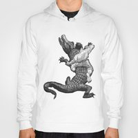 wrestling Hoodies featuring Crocodile wrestling! by Noughton