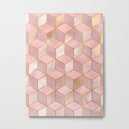 PINK CHAMPAGNE GRADIENT CUBE PATTERN (Gold Lined) Metal Print