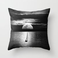 the moon Throw Pillows featuring Moon by haroulita