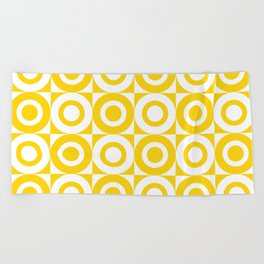 Mid Century Square and Circle Pattern 541 Yellow Beach Towel