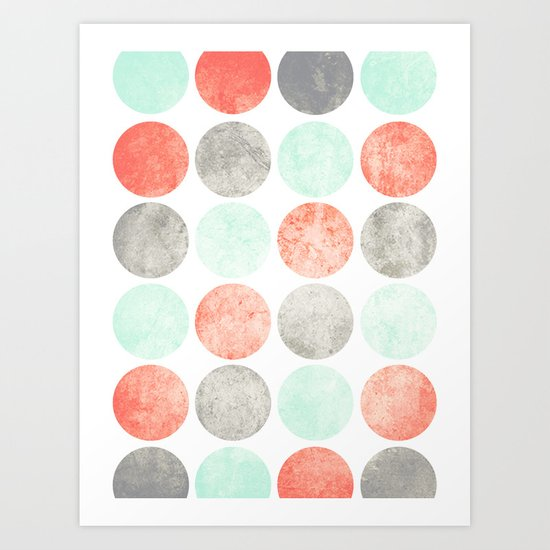 Circles (Mint, Coral & Gray) Art Print