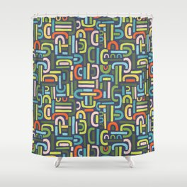 Retro Shapes Shower Curtain