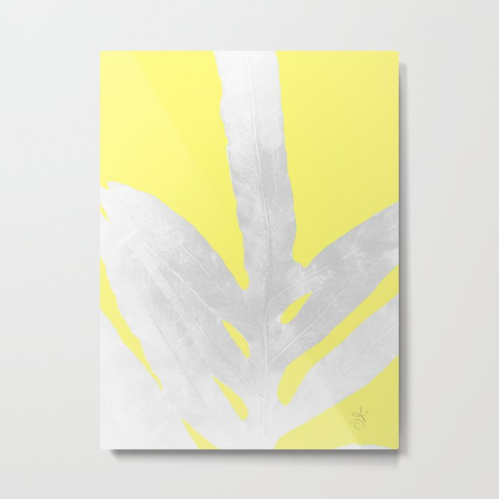 Green Fern on Lemon Yellow Inverted Metal Print