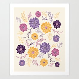 Dahlia Flowers Illustration – Purple Violet and Yellow Art Print