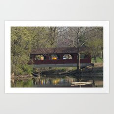 Covered bridge at Shady Side in Anderson, IN. Art Print