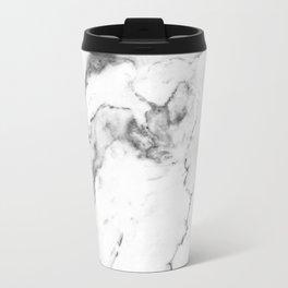 White Marble I Metal Travel Mug