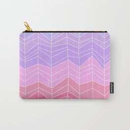 Random Chevron Stripes in Blue Lavender and Pink Carry-All Pouch
