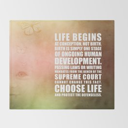Life Begins At Conception Throw Blanket