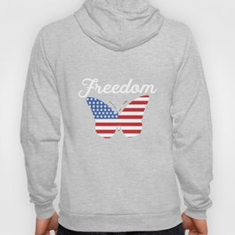 Butterfly Freedom USA Flag Proud American Patriot Hoody