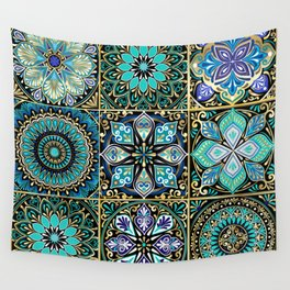 Colorful floral seamless pattern from squares Wall Tapestry